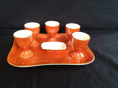 Antique Mother of pearl  Egg Cups + Salt.  Set with  Tray