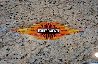 Harley Davidson Retro Orange Flames Bar & Shield Window Decal Inside Vintage 12""