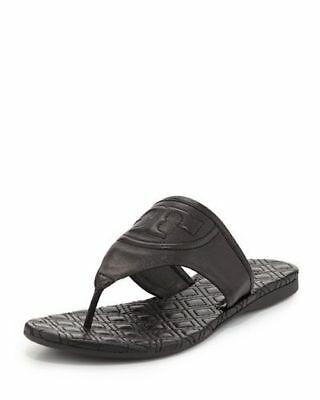 718b0bcb3 New Women s Tory Burch Fleming Quilted Thong Flat Sandals Nappa Leather  Black