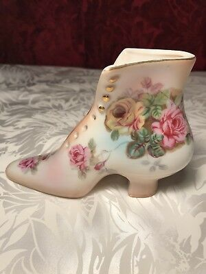 RS China Porcelain Victorian Boot With Roses And Gold Trim