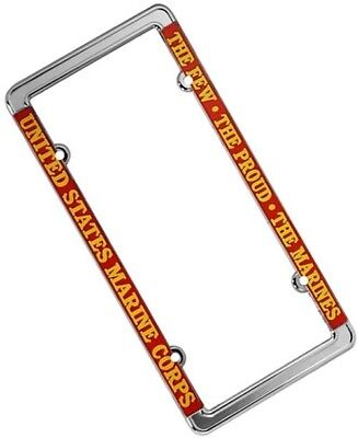 US MARINES CHROME Motorcycle License Plate Semper Fi Frame USMC ...