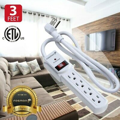 Flat Plug Extension Cord 3Prong 4Outlet Extender Surge Protector 3FT Power Strip