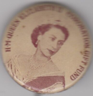 Coronation of QE2 Australia gift fund 26mm tin badge, popular