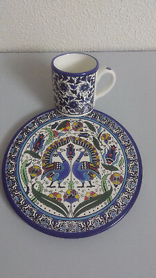 Handcrafts cup and plate made from ceramics, beautiful, antique , nice , decorat