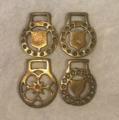 4 Small Flat Horse Brasses Harness Bridle Medallions Decoration