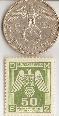 -*smal  lot  of   - 6 -  WW2 - *US  and  *german  coins  and   stamps +..