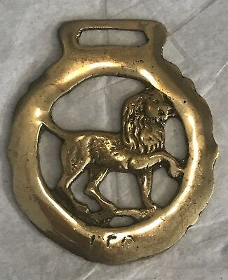 Vintage Horse Brass Bridal Harness Medallion Zodiac Leo