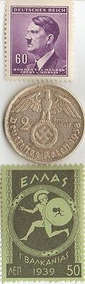 *WW2-*german SILVER EAGLE coin+*FREE 1906 *german Silver coin +*greek   Stamp