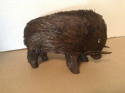 WILD BLACK BOAR HOG PIG MADE OF NATURAL PINE NEEDLES GREAT FOR CRAFTS Figurine