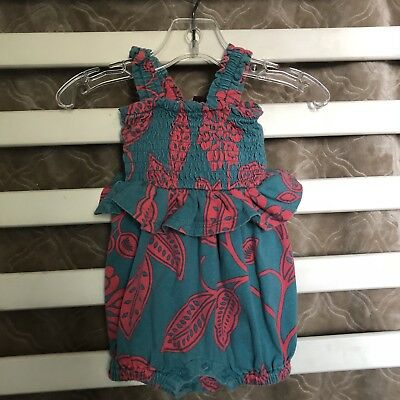 Tea Collection Baby Girls Size 0-3 Months Teal Pink Floral Print Summer Romper