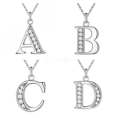 Fashion Women Crystal Initial Alphabet Letter A-Z Pendant Silver Chain Necklace