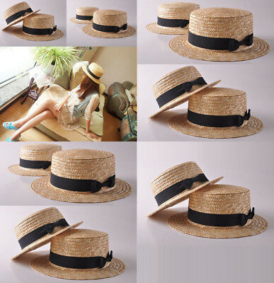 AU STOCK Cute Bow Womens Wheat Straw Flat Hat Cap Boater Sun Beach Handmade Hat