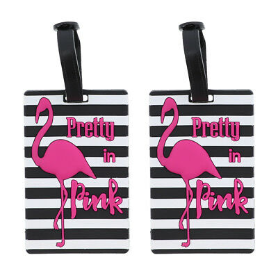 """Luggage Tag Silicone """"Pretty in Pink"""" Duffel Suitcase 2  Flamingo Travel Tags"""