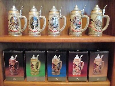 """Anheuser Busch Beer Steins- """"History of Brewing"""" - Full Limited Edition Set"""