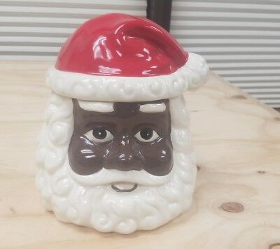 Hand Painted African American Santa Claus Cookie Jar (8.75 inches)
