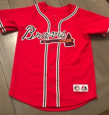best website 4065b 78e1d ATLANTA BRAVES MAJESTIC Youth Jersey Stitched Emblem Size M ...