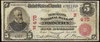 Large 1902 $5 Dollar Boston National Bank Note Red Seal Currency Paper Money