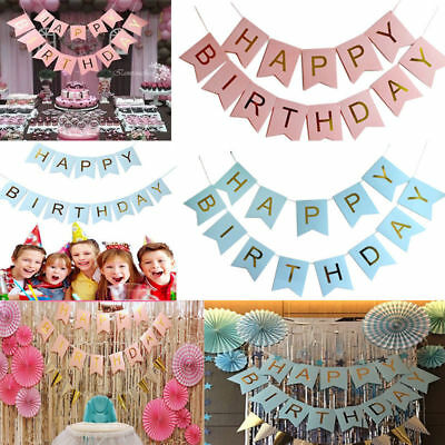 Glitter Gold Letters Happy Birthday Bunting Garland Party Hanging Banner Decor