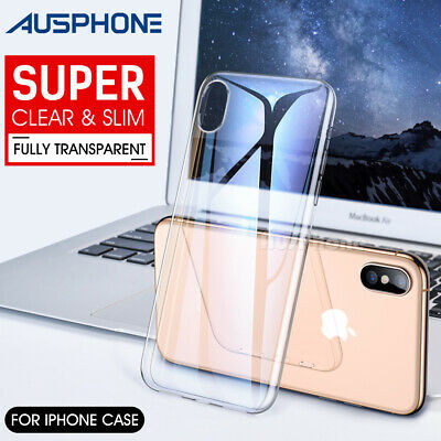 Apple Iphone XS Max XR 8 7Ultra Slim CRYSTAL Clear Soft Silicone CASE Cover Skin