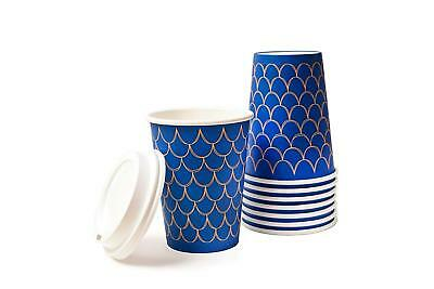 Stylish Disposable Paper Coffee Cups, 100 Pack-12Oz cups with lids, perfect for