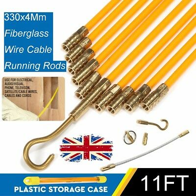 10X 10.8FT Fiberglass Cable Running Rods Kit Fish Tape Electrical Wire Coaxial