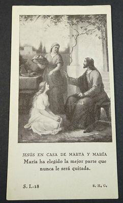 Old Blessed Jesus Christ In Martha And Mary House Holy Card Andachtsbild Cc21120