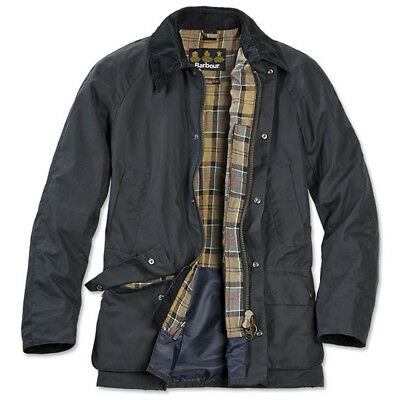 BARBOUR Military/Field Sylkoil Waxed Cotton Tailored Ashby Jacket sz XL Navy
