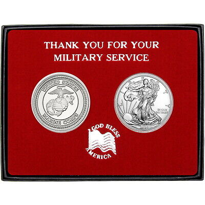 Military Service US Marines Round and Silver American Eagle 2pc Box Set
