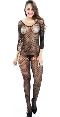 Sexy Lingerie Womens Floral Long Sleeve Hollow Out Teddy Bodysuit Body Stocking