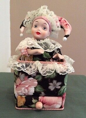 San Francisco Victorian Cloth Jewelry Music Box Animated Porcelain Jester Doll