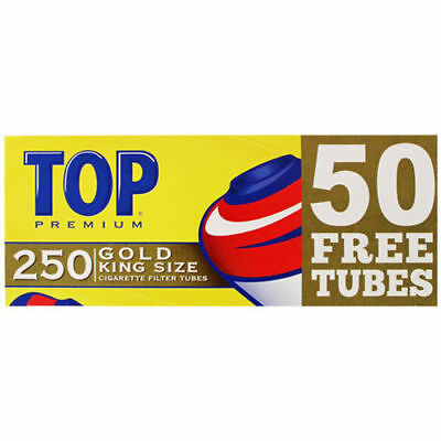 1x Box TOP Lights King Size - ( 250 Tubes Total ) Cigarette Rolling Tube Gold