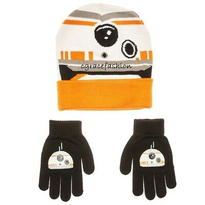 NWT Disney Star Wars BB8 Boy Knit Beanie Winter Snow Ski Cap Hat Gloves Set fb511784a2dd