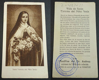 Old Blessed Saint Therese Of Lisieux Holy Card Pastillas Doctor Andreu    Cc2136