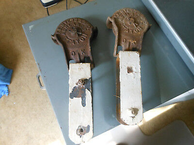 Antique Vintage Cast Iron Myers Stay On Barn Door Rollers Pat.1900 Trolley