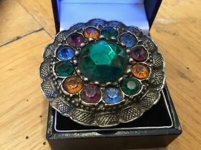 Stunning VINTAGE Antique Multi Coloured Faceted Rhinestone Brooch White Metal