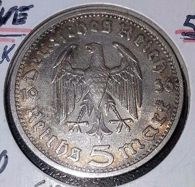 1936-D Nazi Hindenburg 5 Reichsmark .900 Silver Coin Ww2 Germany Free Shipping