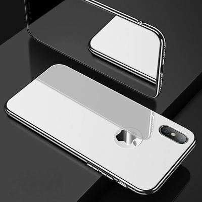 Real Tempered GLASS BACK CHROME Edge Hybrid Case Cover For Apple iPhone XS 7 8 X