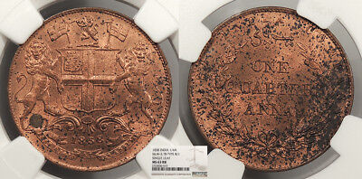 INDIA British East India Company under Victoria 1858 (w) 1/4 Anna NGC MS-63 RB