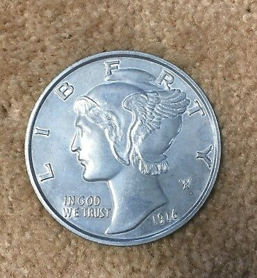 1916 Novelty Metal 3 Inch Liberty Dime Coin Coaster Paperweight