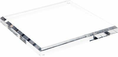 """Plymor Brand Clear Acrylic Square Beveled Display Base.75"""" H x 8"""" W x 8"""" D New"""