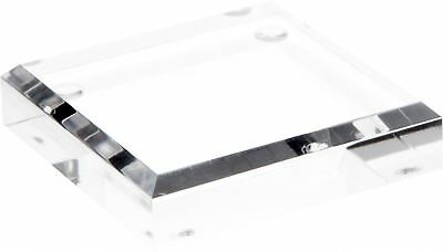 """Plymor Brand Clear Acrylic Square Beveled Display Base.75"""" H x 3"""" W x 3"""" D New"""