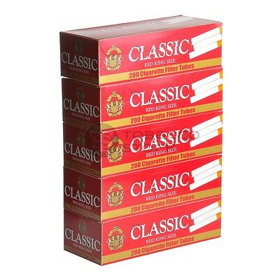 2x Boxes Classic Full Flavor Red KING SIZE ( 400 Tubes ) Cigarette Tube Tobacco
