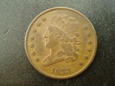 1833 Classic Head Half Cent 1/2c Coin  **NO RESERVE**