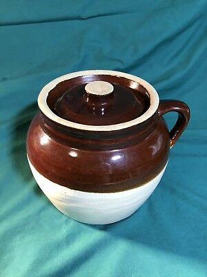 Vintage Robinson Ransbottom Stoneware Crock Bean Pot W/ Lid Blue Crown #3