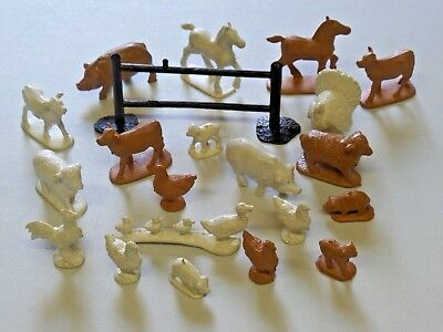 Vintage Large Lot of Auburn and Marx Farm Animals with One Fence 1950's