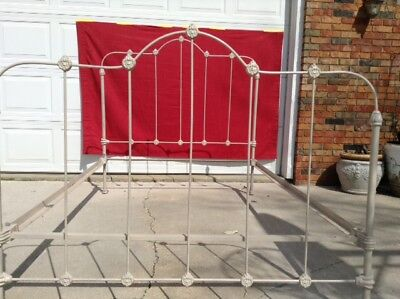 Antique Ornate Wrought Iron Bed 3/4  Size with Rails