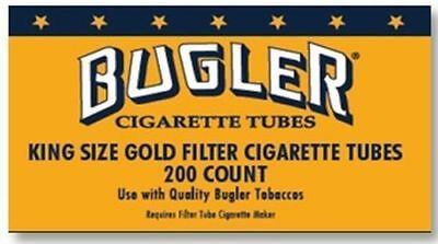 1x Box Bugler Lights King Size ( 200 Tubes Total ) Gold Tobacco Rolling Tube