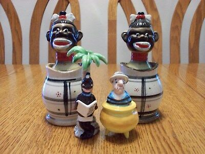 Vintage Lot Rare Black Americana Natives & Explorer Pot Salt And Pepper Shakers