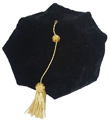 GraduationMall Graduation Doctoral Tam 8-Sided Black Velvet With Gold Bul... New