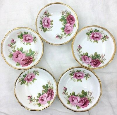 """5 Royal Albert American Beauty Fruit Nappies 5 1/2"""" England Floral Pink"""
